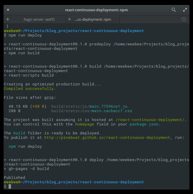 output of npm run deploy