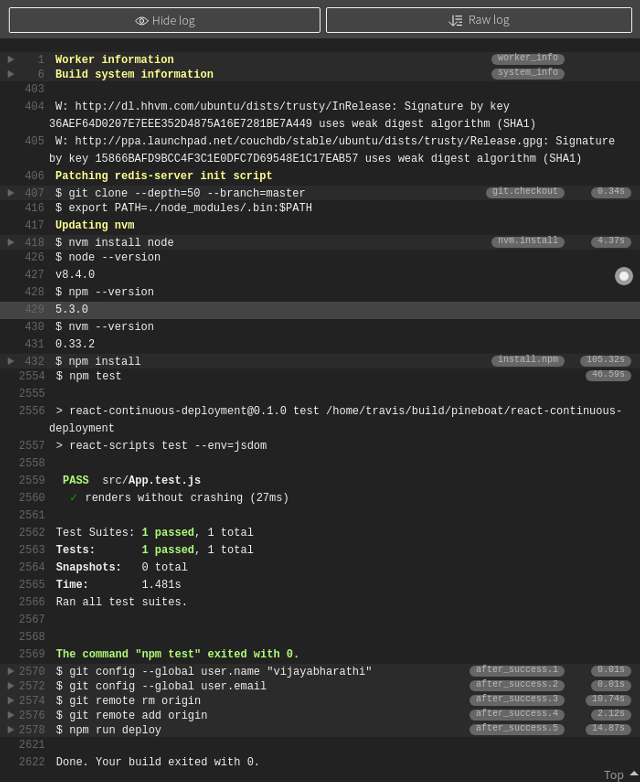 travis log showing test pass status and subsequent deployment to gh-pages